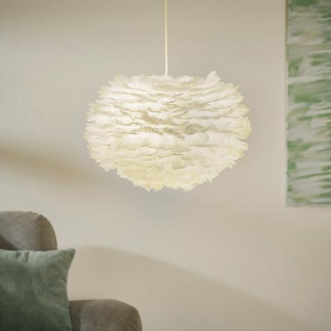 Lampa wisząca Eos medium, gęsie pióra, biała
