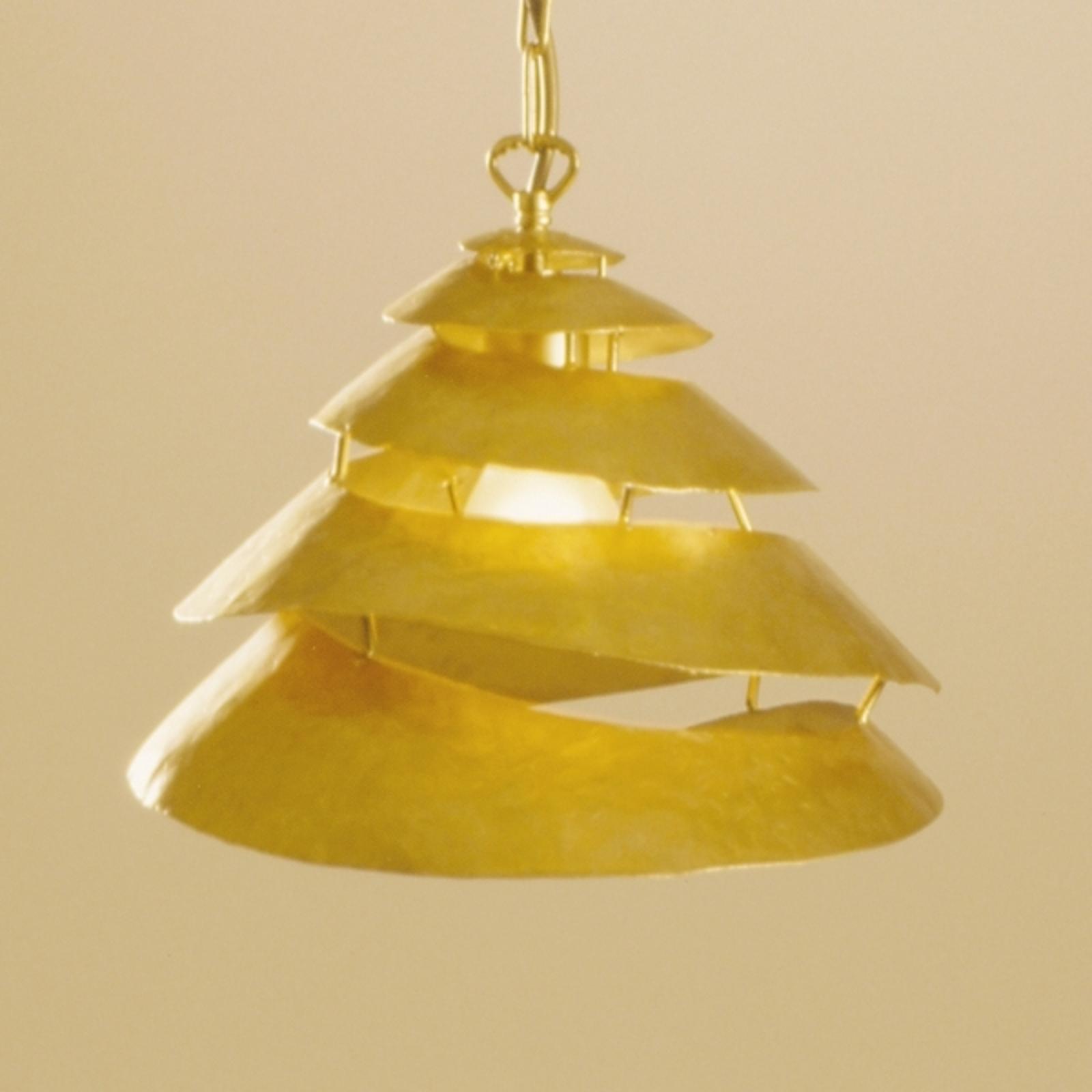 Spiraalvormige hanglamp SNAIL ONE van ijzer - goud