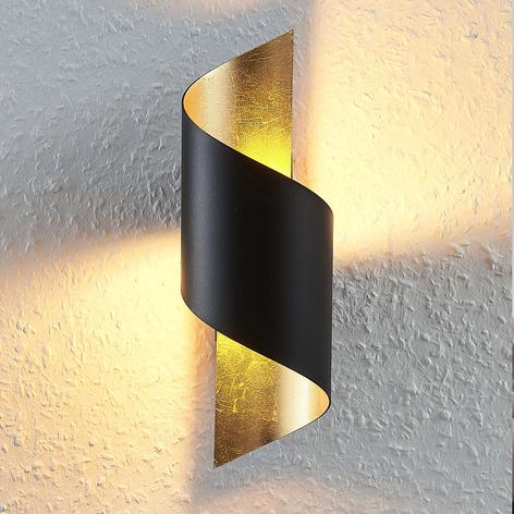 Metall-LED-Wandleuchte Desirio, schwarz-gold