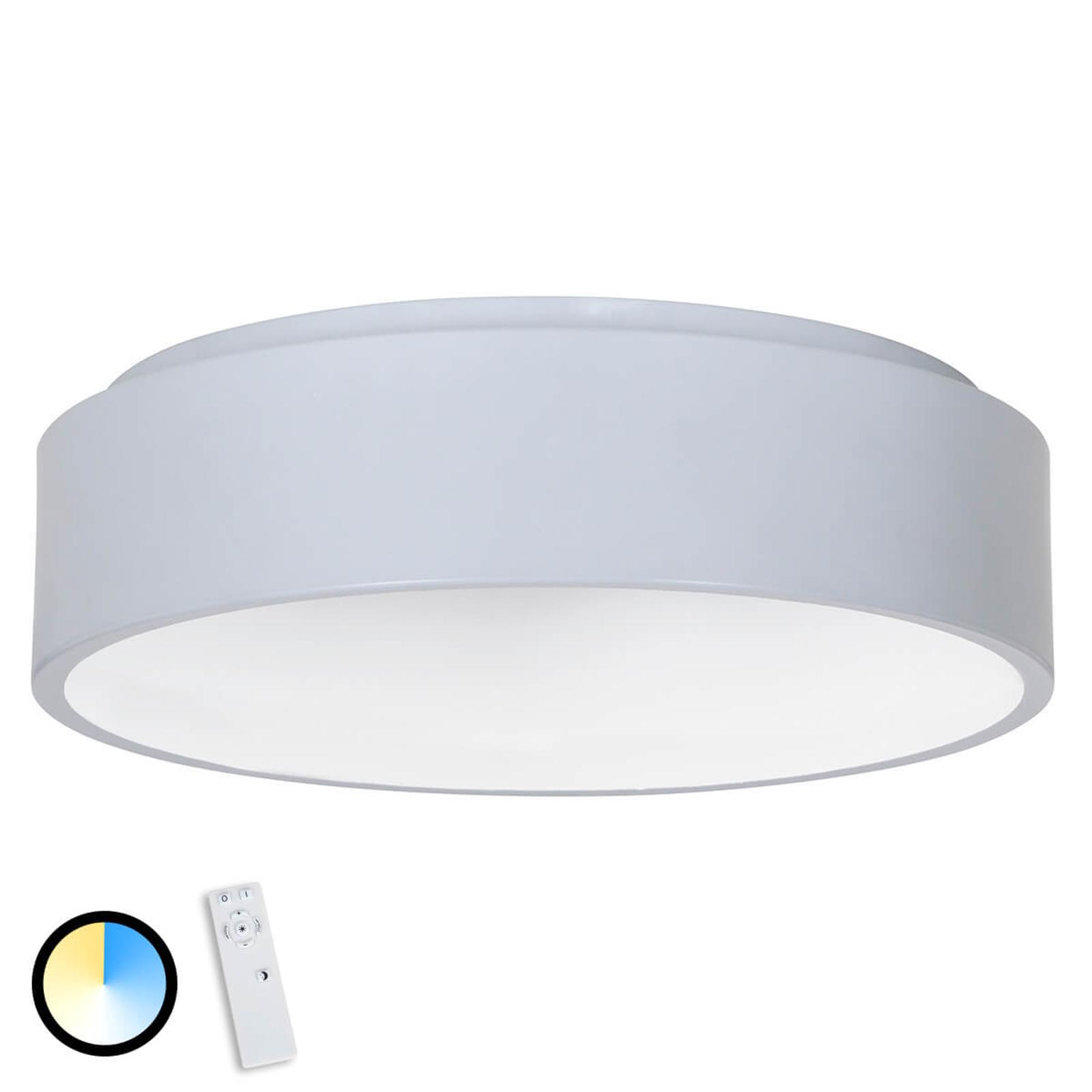 Szara lampa sufitowa LED Birte z pilotem