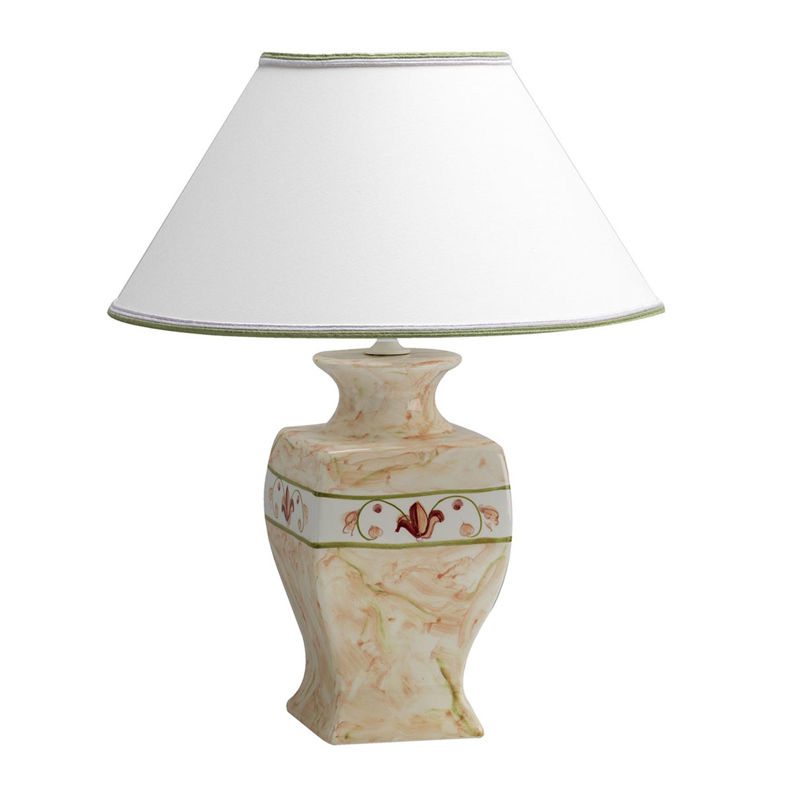 Bordlampe i keramik Marmorino m. tekstilskærm