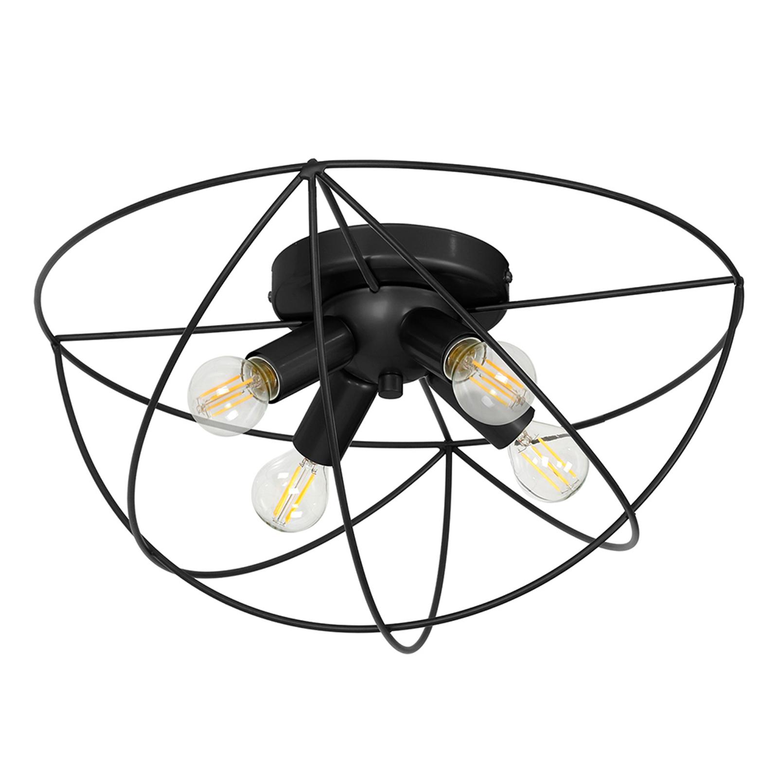 Deckenleuchte Copernicus, vierflammig schwarz