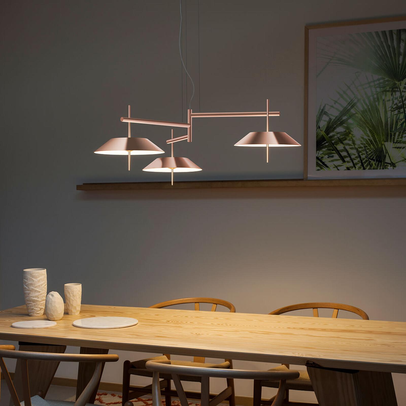 Lampa wisząca LED Mayfair, trzypunktowa, miedź