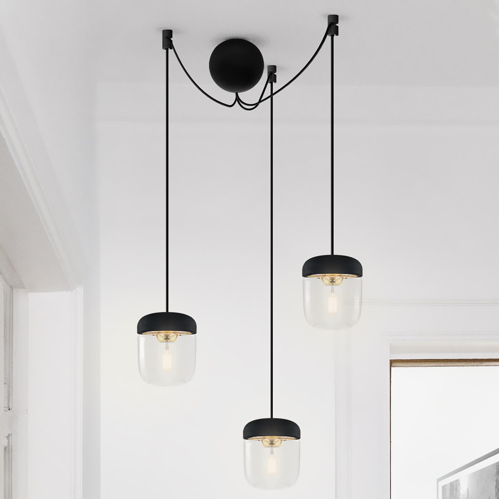 Pendellampe Acorn i svart og messing 3 lyskilder