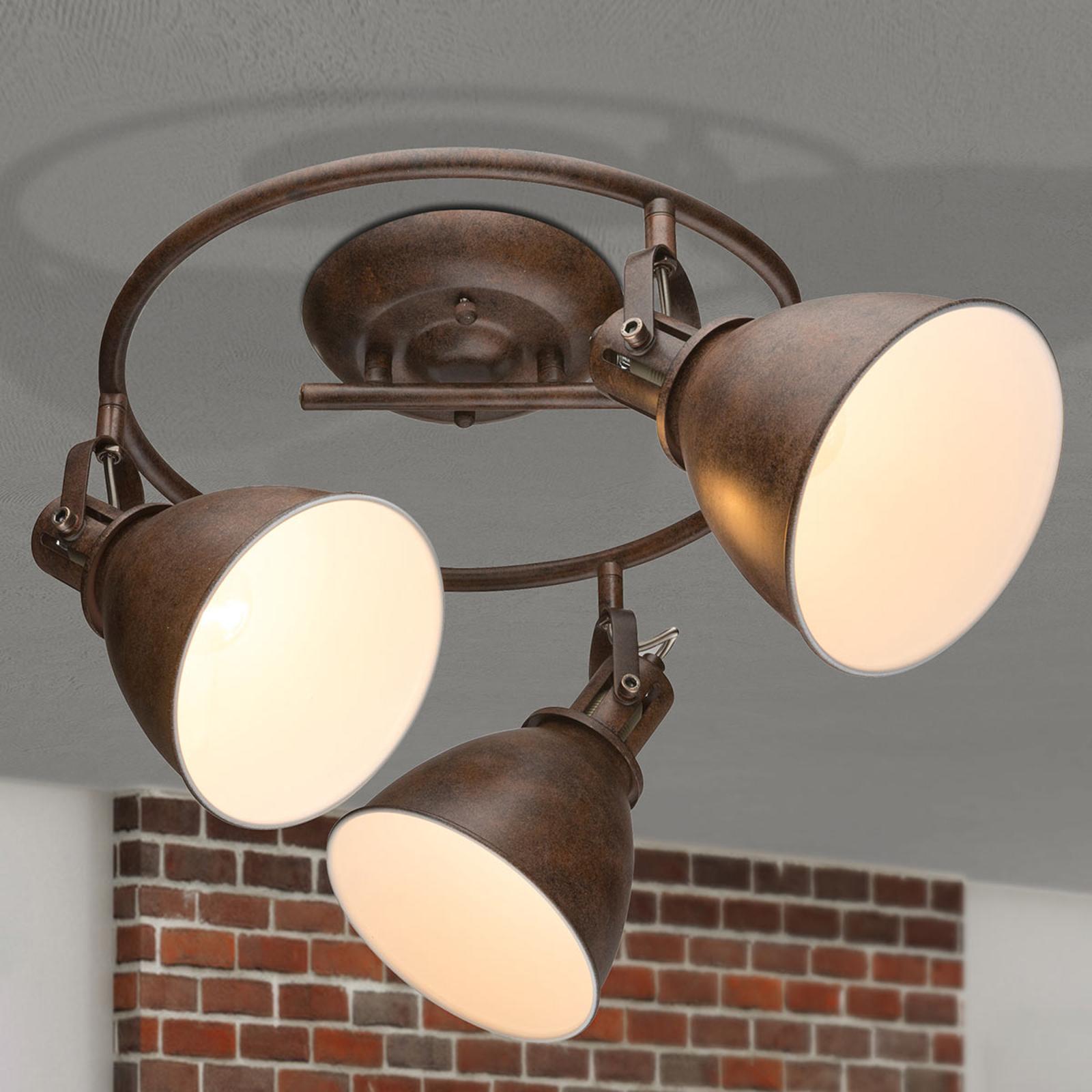 Plafonnier à trois lampes Giorgio en brun rouille.