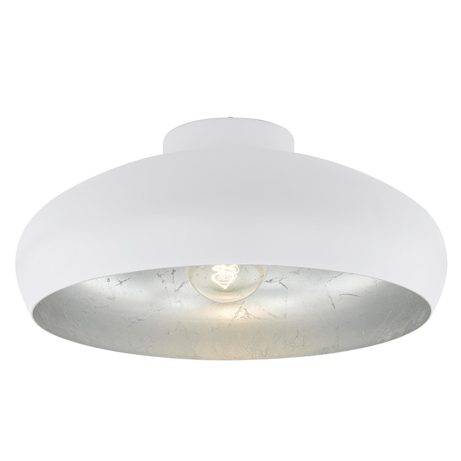 Hvit- og sølvfarget taklampe Mogano