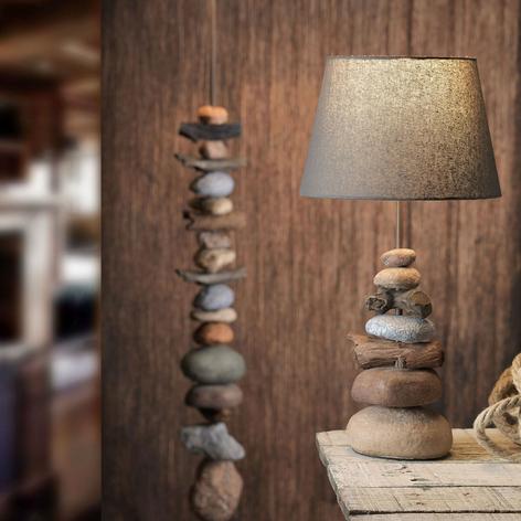 Tischlampe Vera, Stoffschirm und Stein-Dekor, 55cm