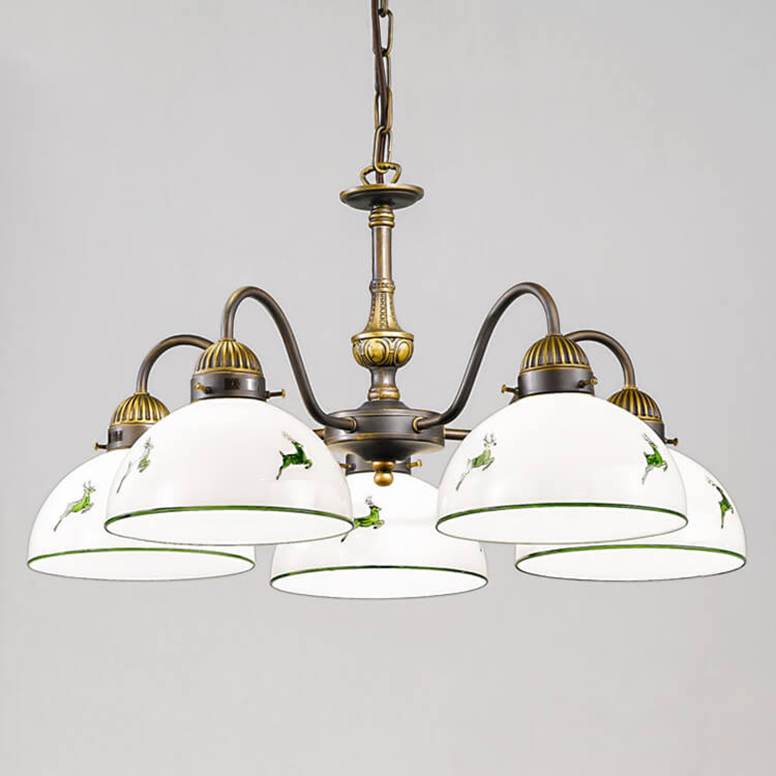 Nonna lampa wisząca styl dworkowy biało-zielona