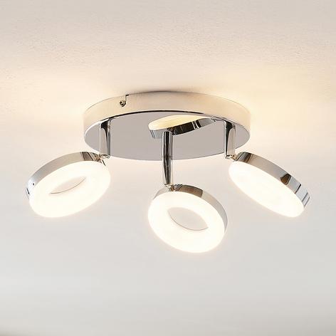 ELC Tioklia LED-taklampe, krom, 3 lyskilder