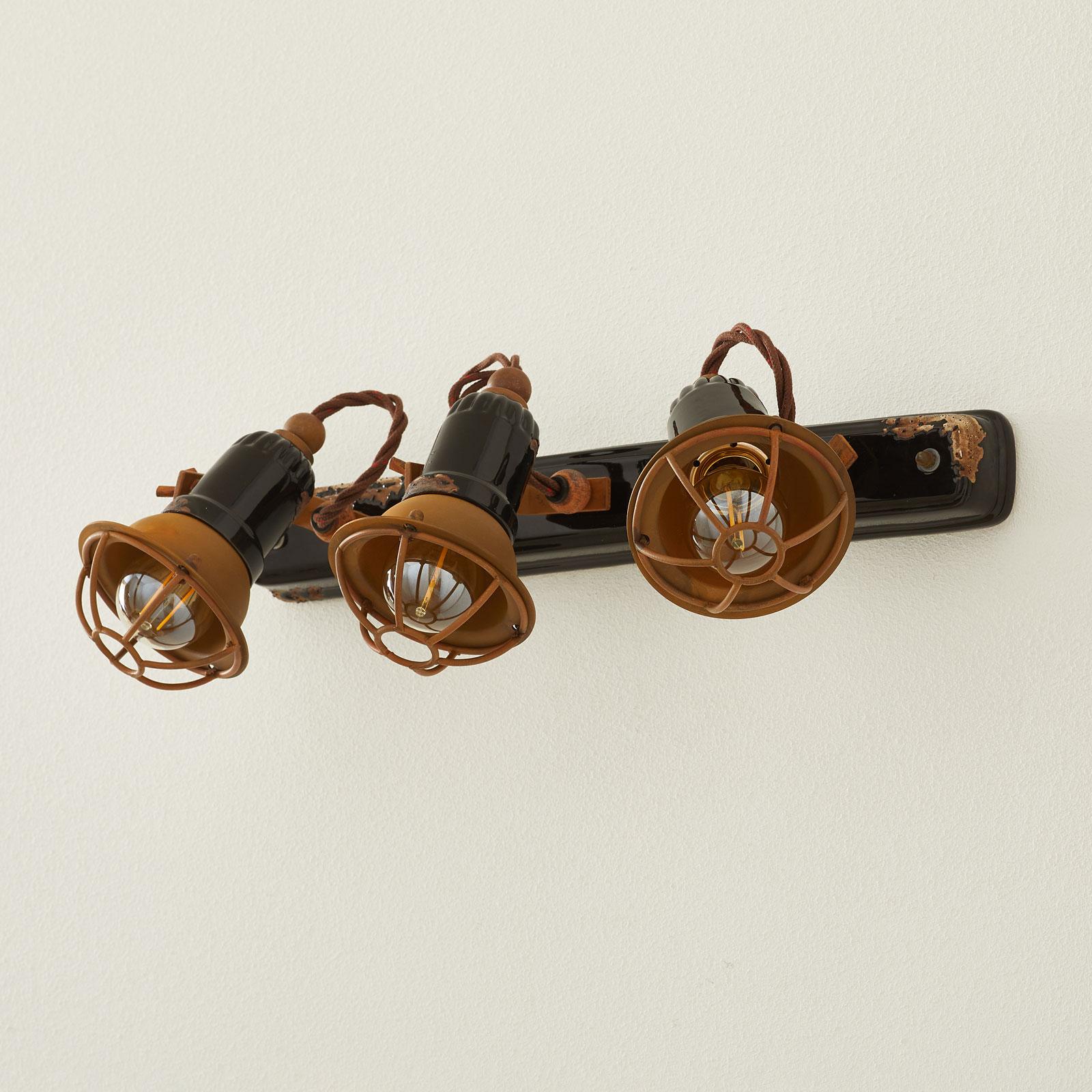 Wandlamp C1677/1 met korf, 3-lamps, zwart