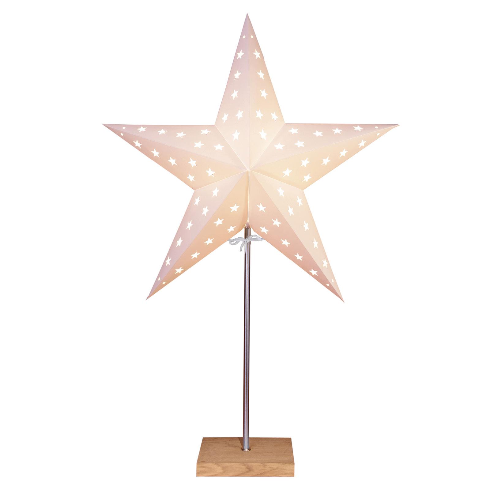 Standstern Leo mit Sternenmuster, weiß/eiche
