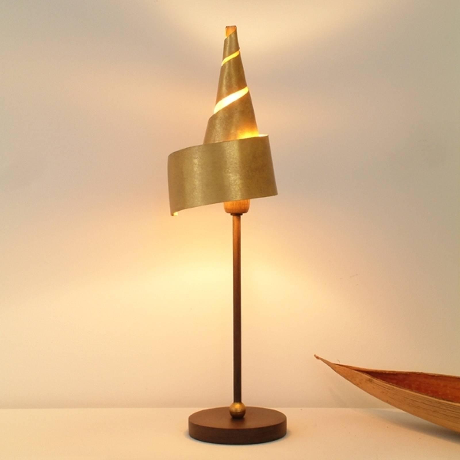 Goldene Tischleuchte ZAUBERHUT mit Metallschirm