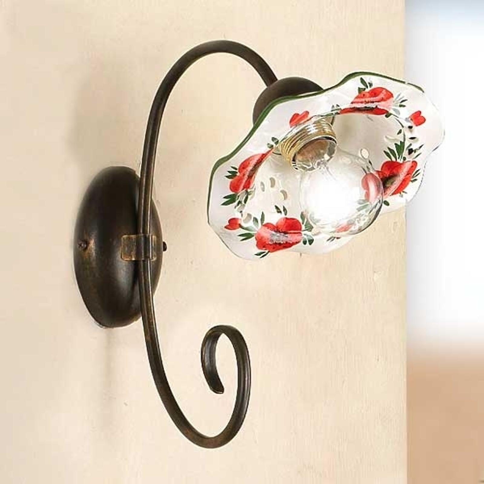 Lampa ścienna ROSOLACCI z ceramicznym kloszem