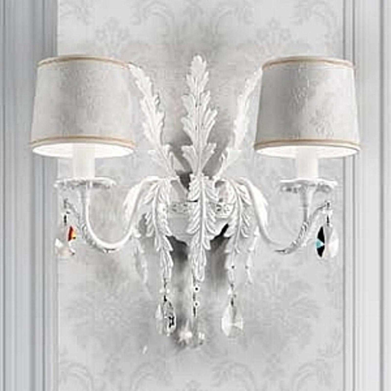 Biała lampa ścienna Angelis z kryształami Asfour