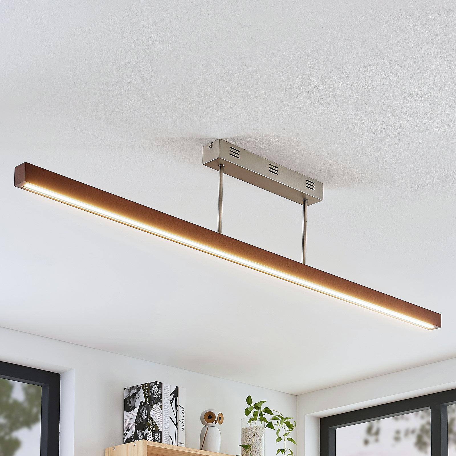 Drewniana lampa sufitowa LED Tamlin, brąz, 140 cm