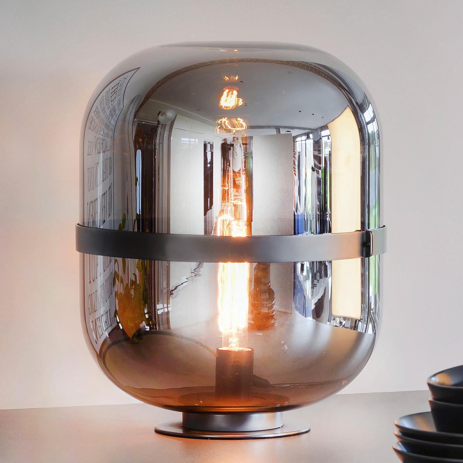 Lampe à poser Baloni abat-jour en verre gris fumée