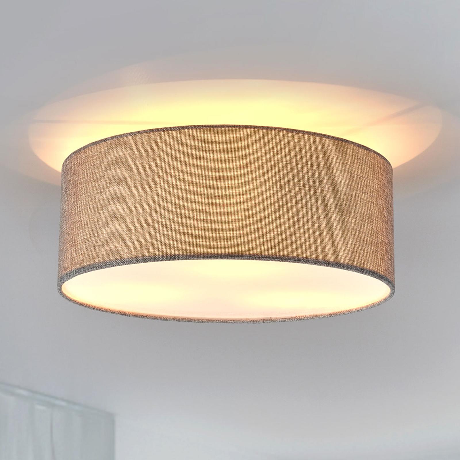 Lampa sufitowa Henrika z szarej tkaniny