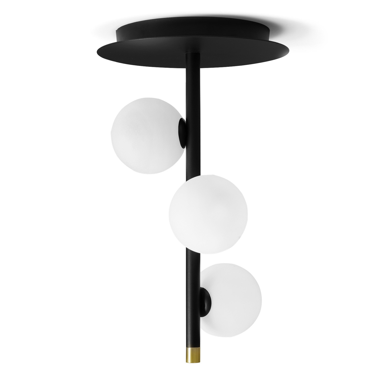 Plafonnier Pomì, à 3 lampes avec sphères de verre