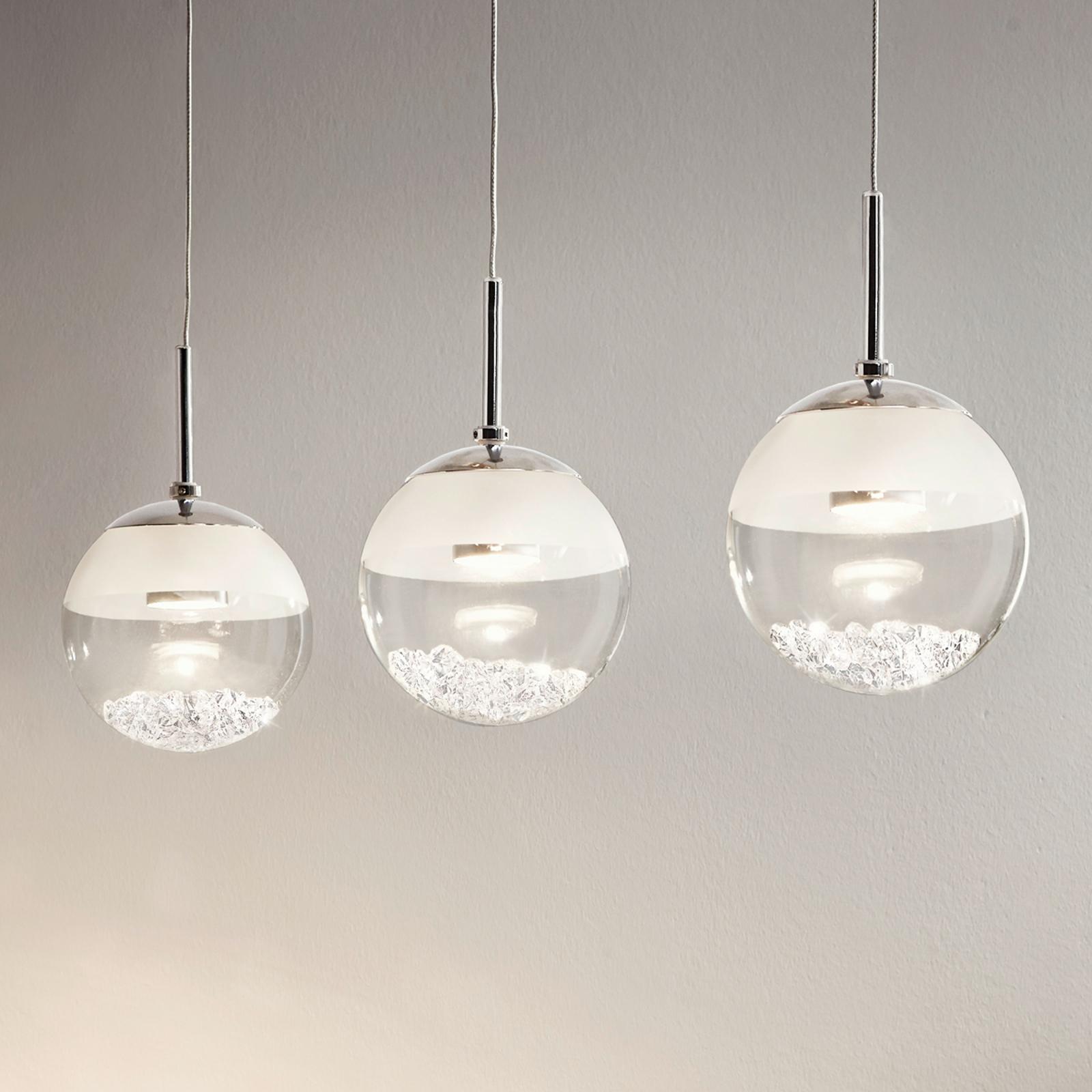 Podélné LED závěsné světlo Montefio s krystaly