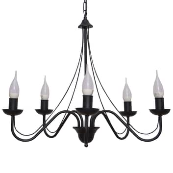 Lámpara de araña Malbo 5 luces en negro