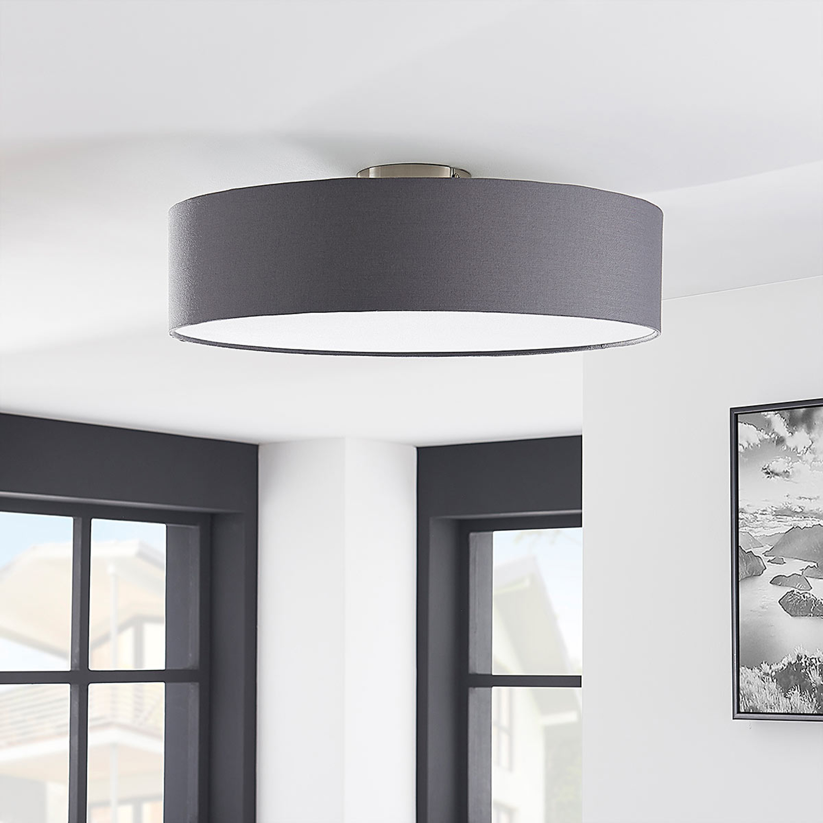 Deckenleuchte Sebatin mit E27-LED, 50 cm, grau