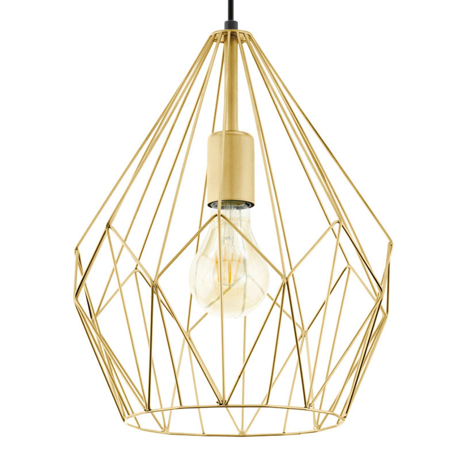 Lampa wisząca Carlton z klatkowym kloszem, złota