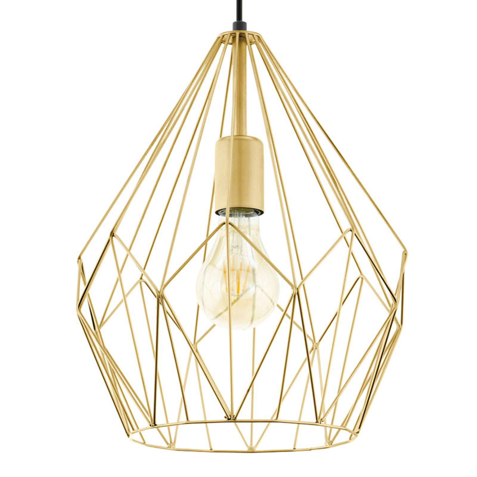 Hanglamp Carlton met kooikap, goudkleurig