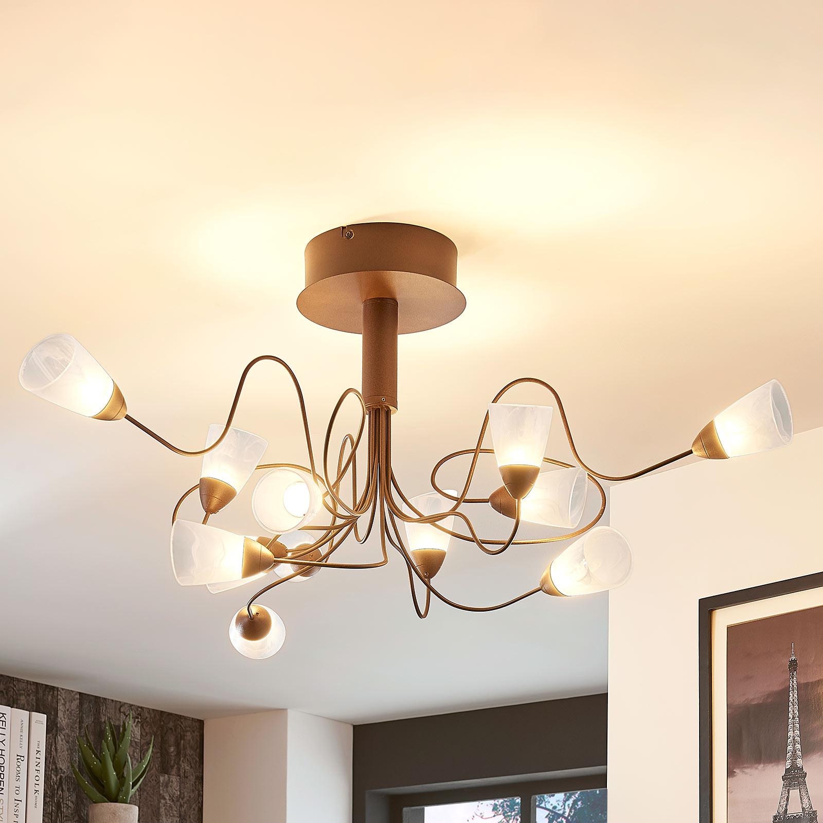 Plafonnier LED Hannes rond, abat-jour verre