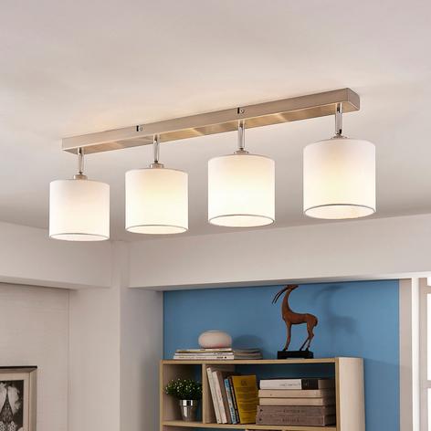 Viehättävä kangaskattovalaisin Mairi LED-lampuilla