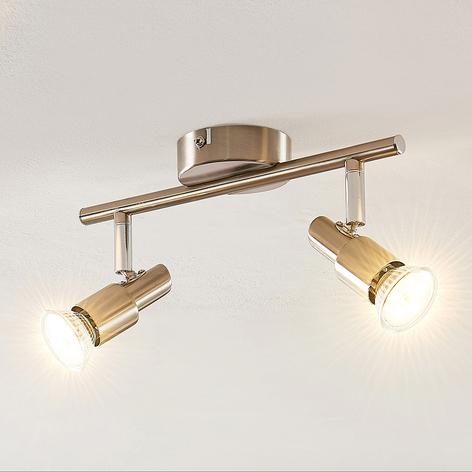 ELC Farida LED plafondlamp, nikkel, 2-lamps