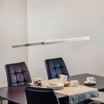 Lámpara colgante LED Lara 134 cm extensible níquel