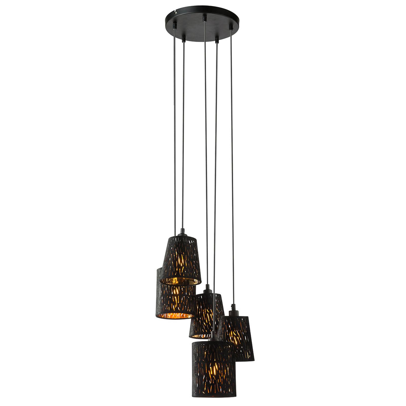 Okrągła lampa wisząca Tuxon z tekstylnymi kloszami