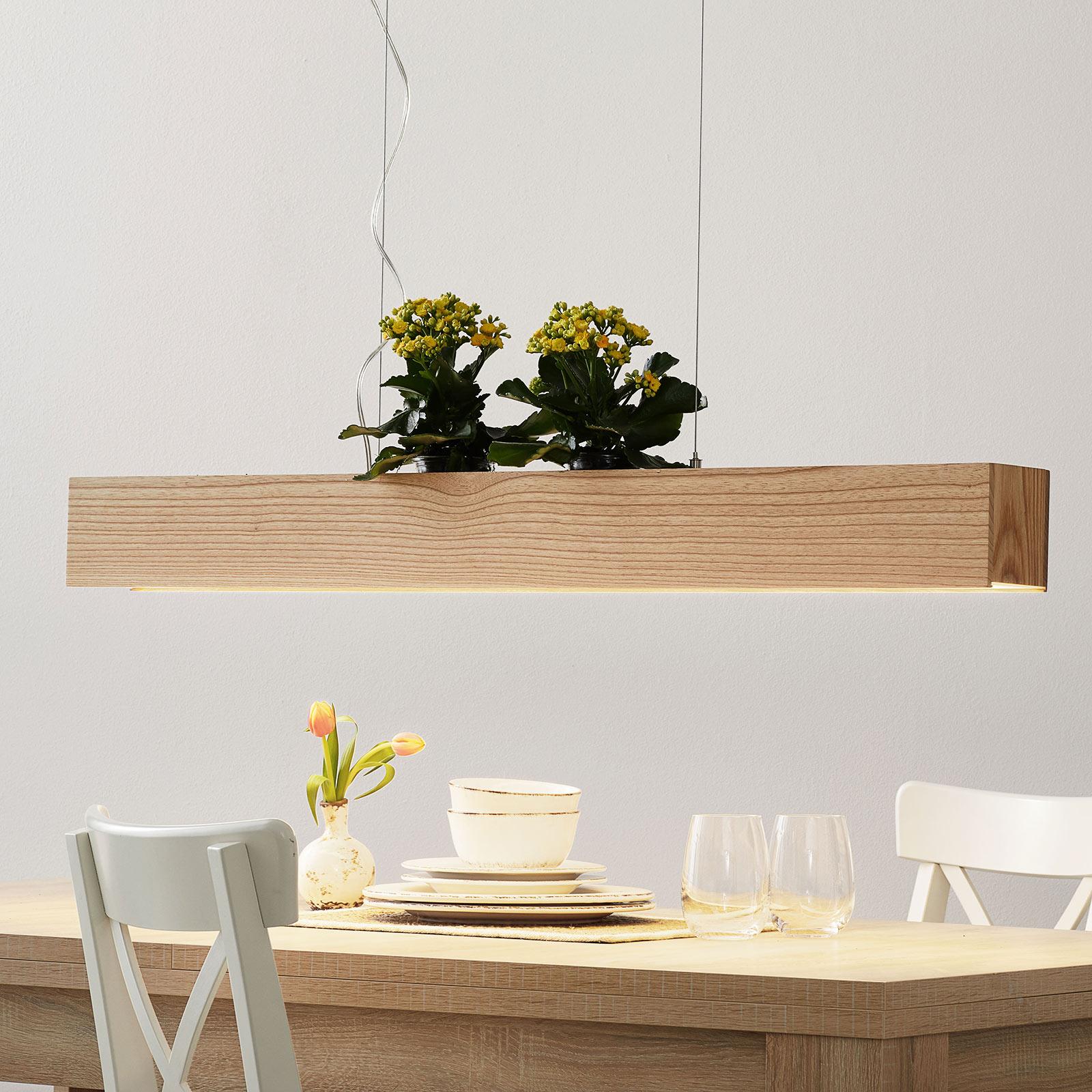 LED-Pendelleuchte Ash mit Schirm aus hellem Holz