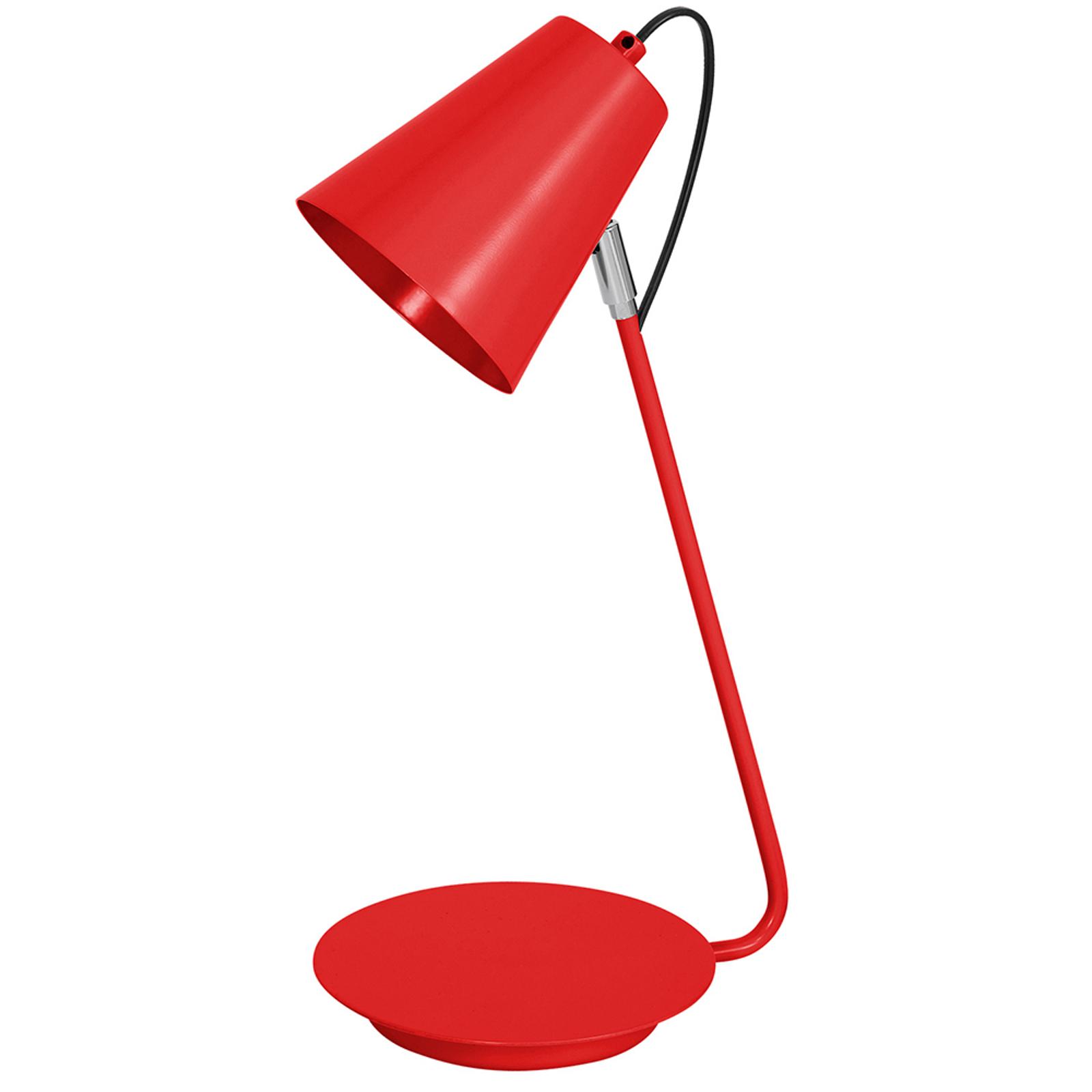Tischleuchte 8301 kegelförmig Chromdetail, rot