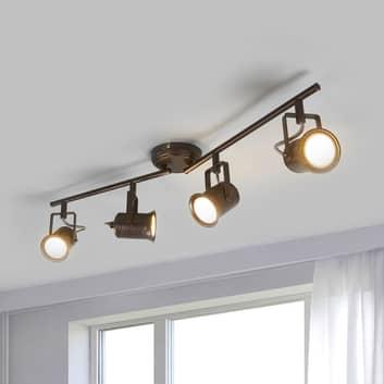 4-punktowa lampa sufitowa LED, styl rustykalny