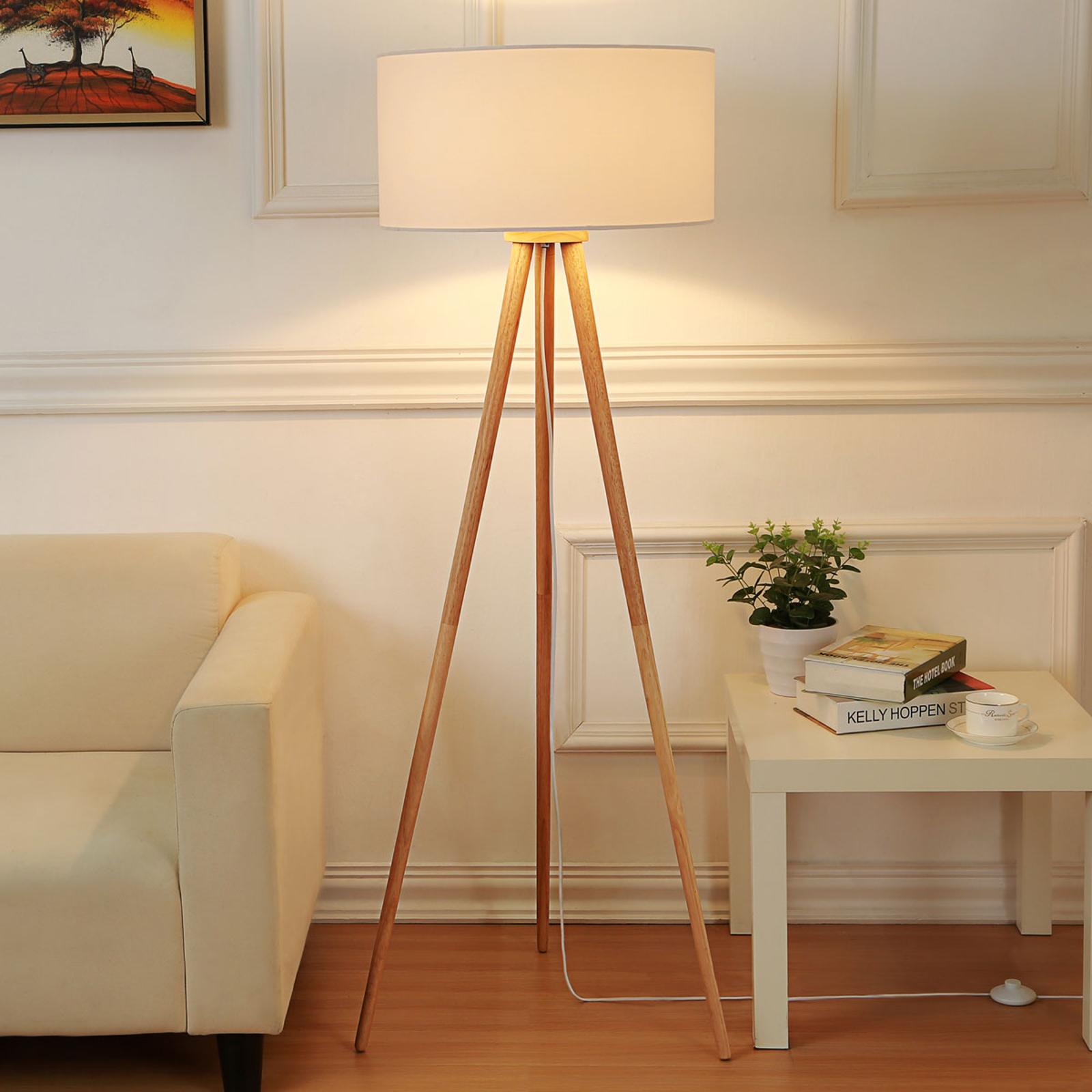 Materiałowa lampa stojąca Charlia z trójnogiem
