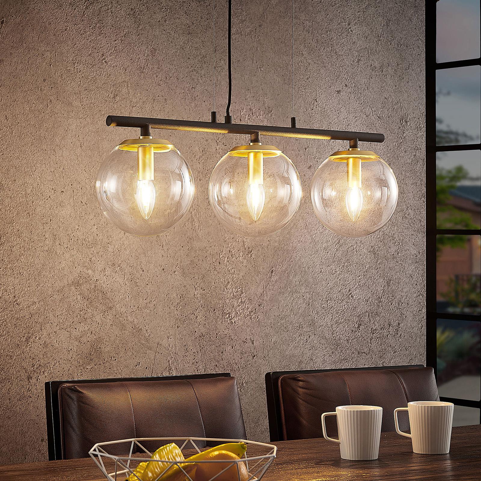 Lucande Sotiana sospensione, 3 sfere di vetro