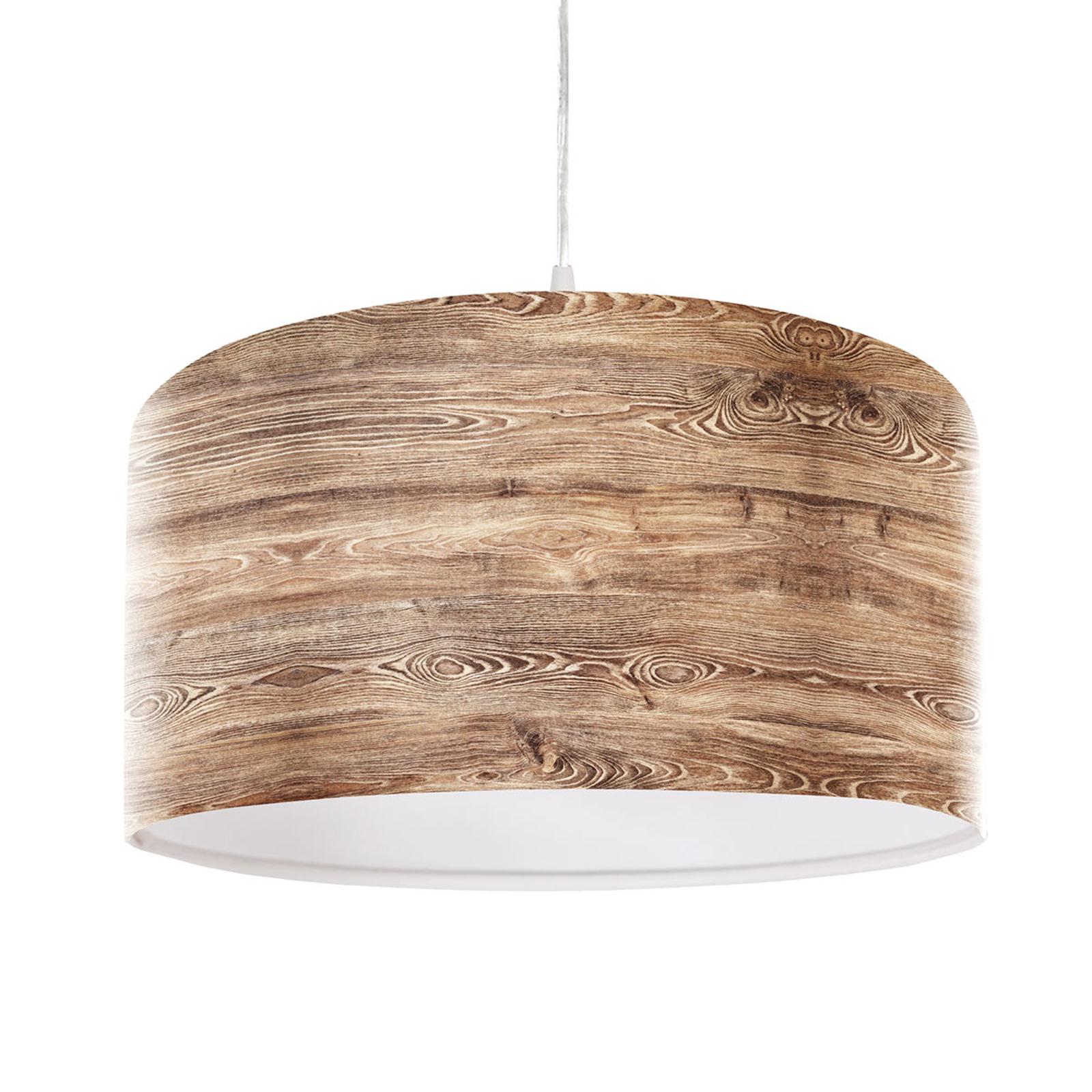 Rustykalna lampa wisząca Woody o wyglądzie drewna