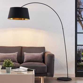 Łukowa lampa podłogowa Esti tkanina, czarno-złoty