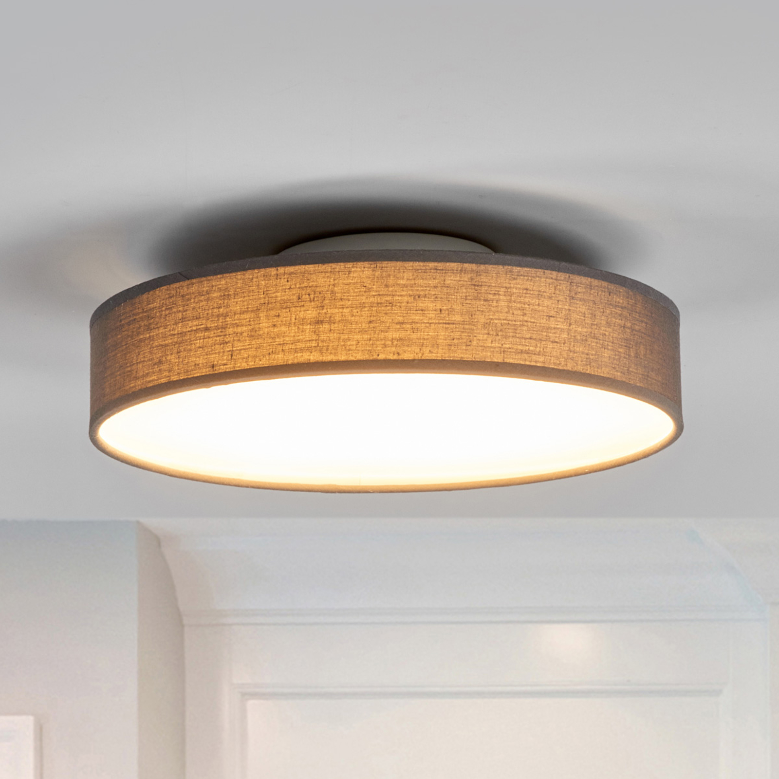 Stoffen LED-plafondlamp Saira, 30 cm, grijs