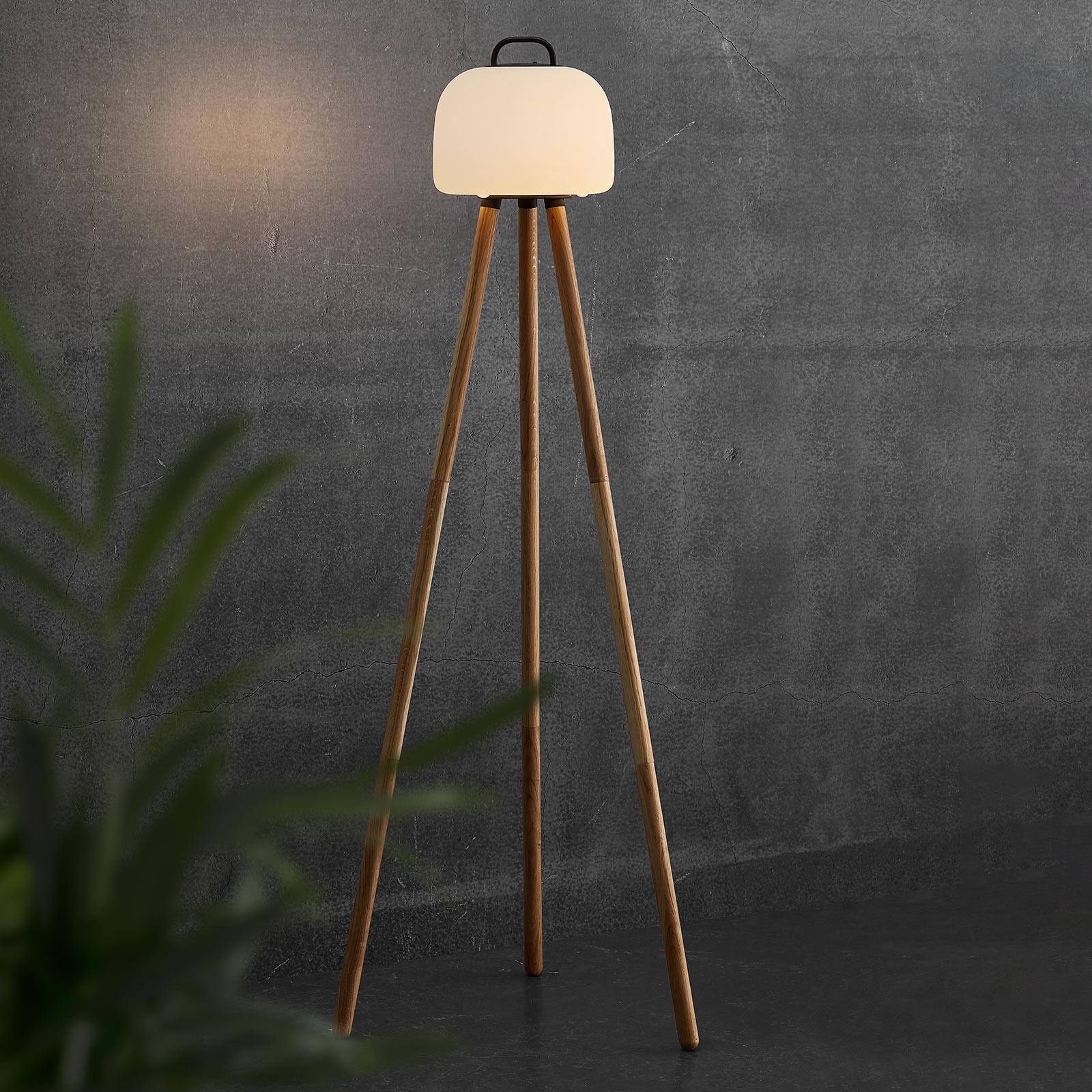 Lampa stojąca LED Kettle trójnóg drewno klosz 22cm
