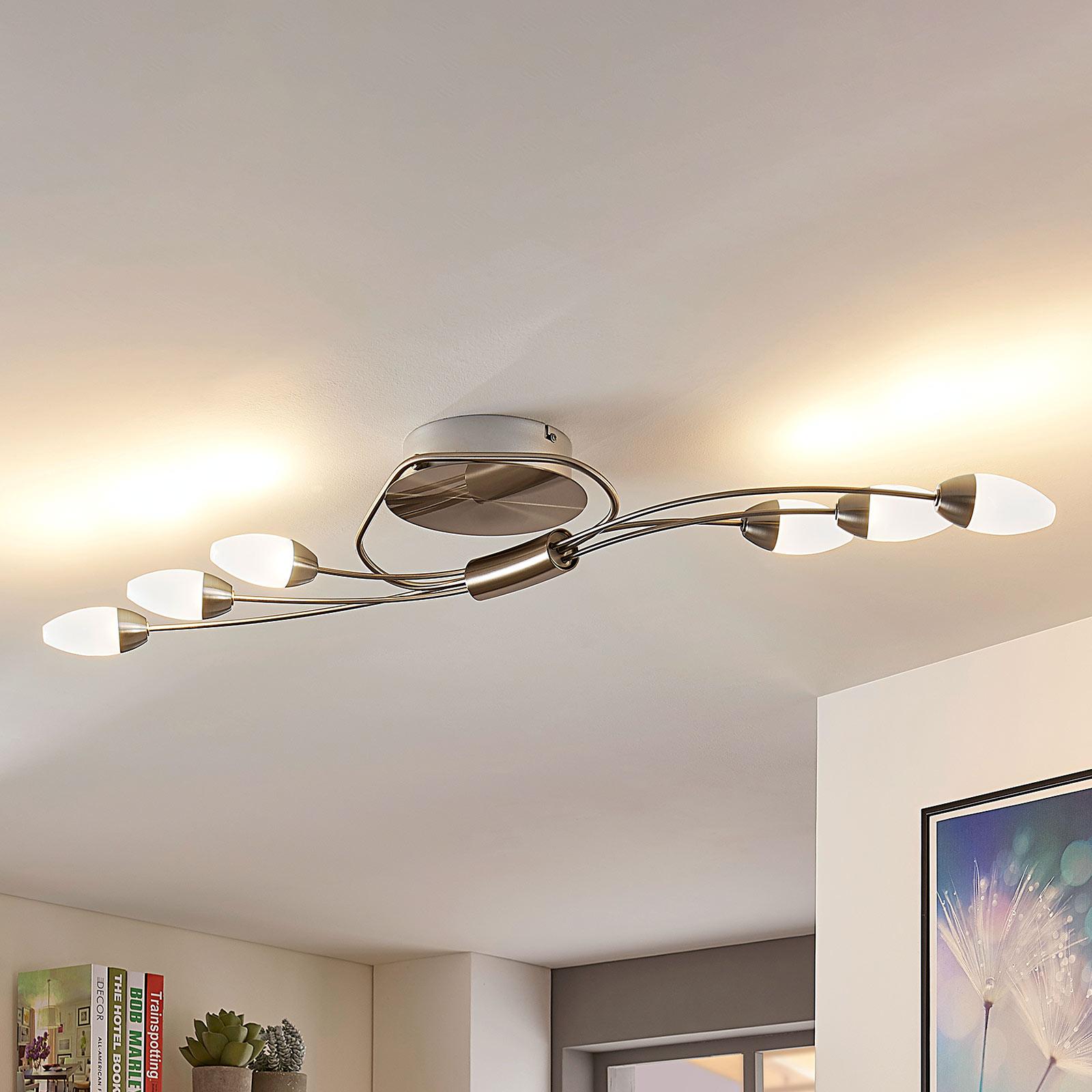 LED-Deckenleuchte Deyan, dimmbar, 6-fl., länglich