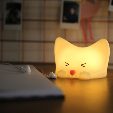 Lámpara nocturna LED Catty Cat, 7 colores + sonido