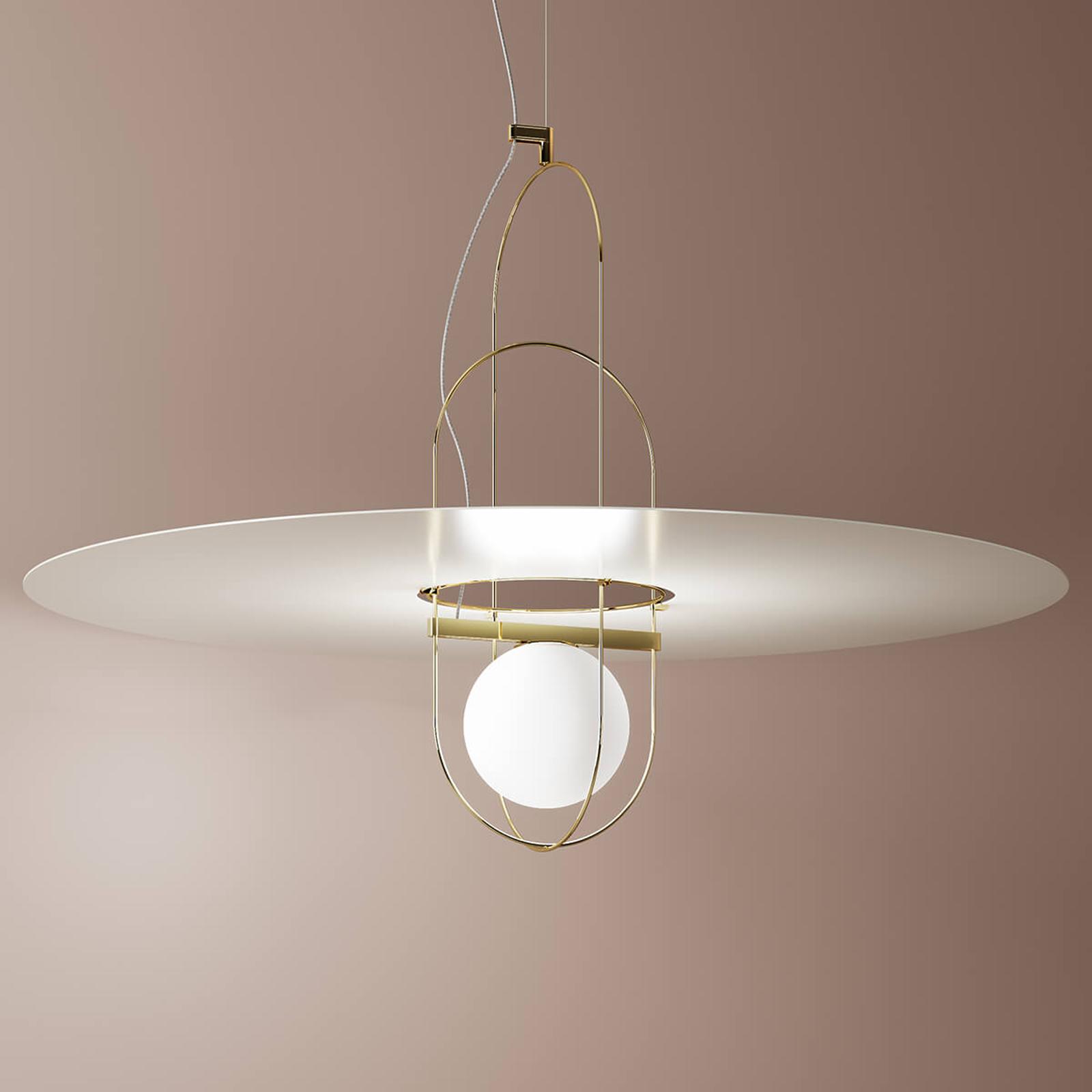 Biało-złota lampa wisząca LED Setareh