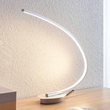 Lámpara de mesa LED Nalevi, forma de arco, plata