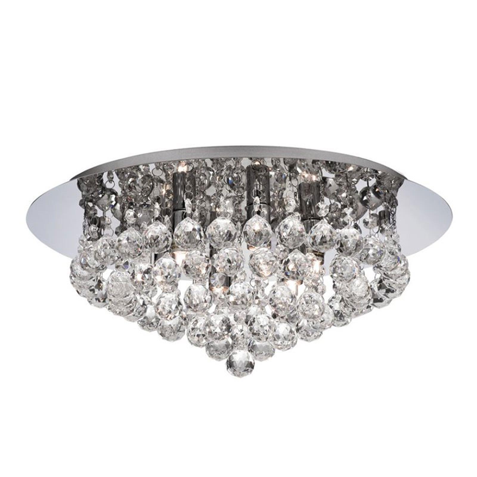 Taklampe Hanna krom med krystallkuller, 45 cm