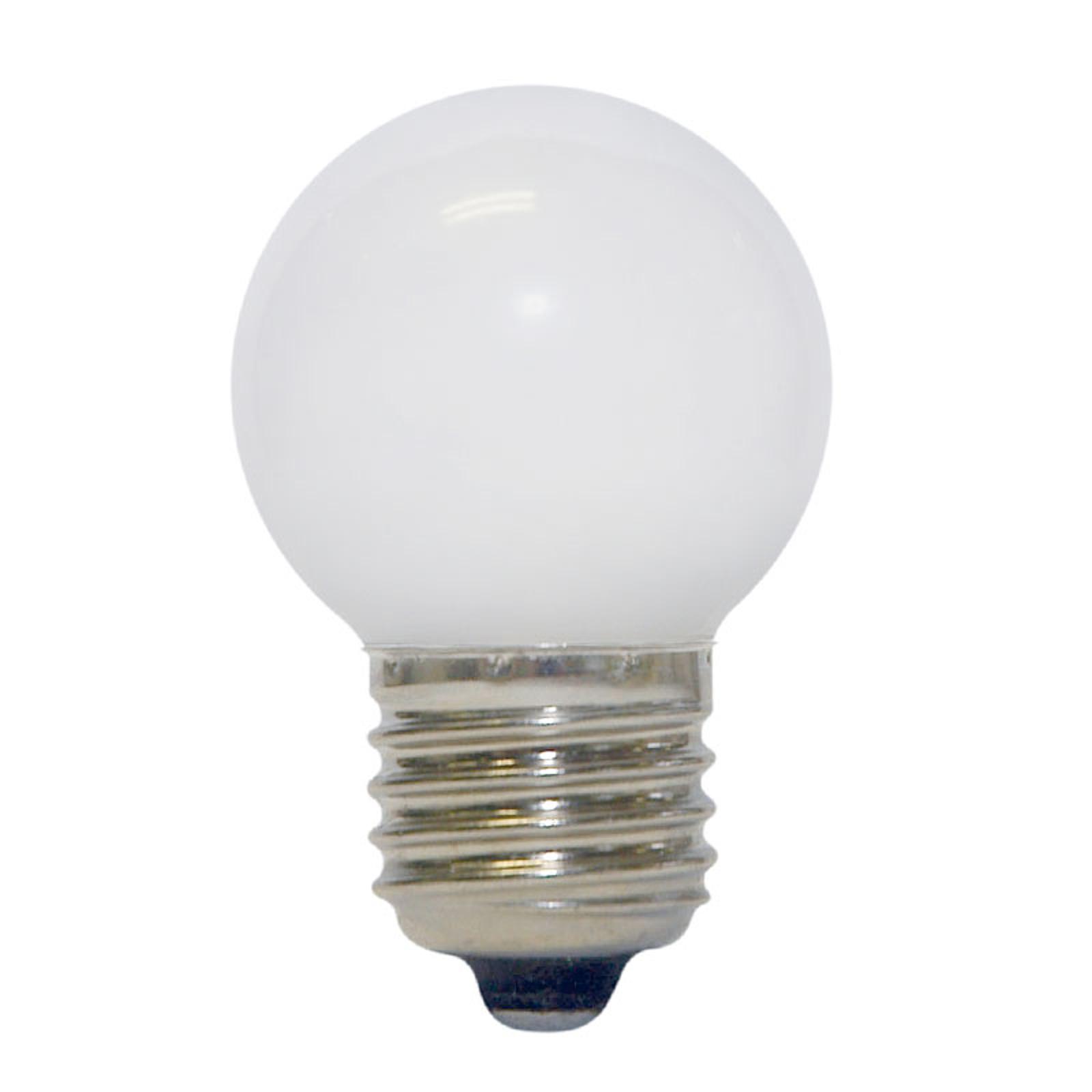 LED Golfball-pære E27, 0,7 W, varmhvit, matt