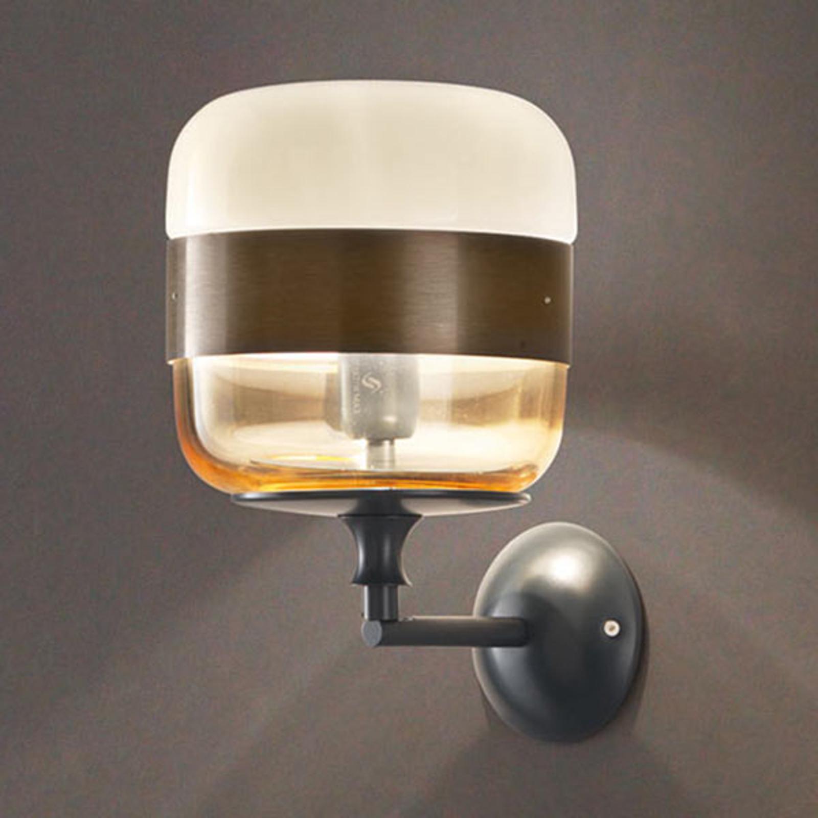 Designer-Wandleuchte Futura aus Glas, bronze