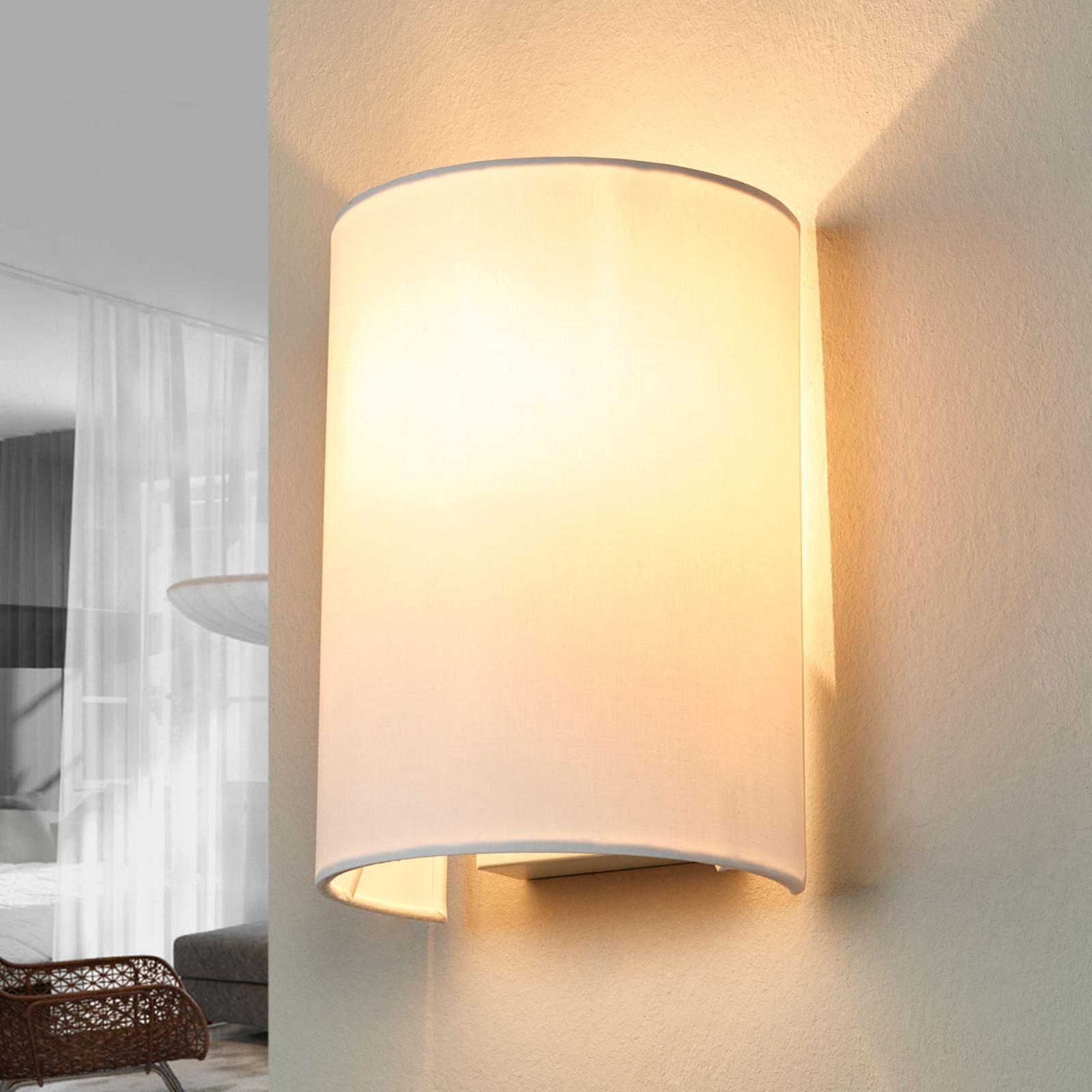 Witte wandlamp van stof Coral