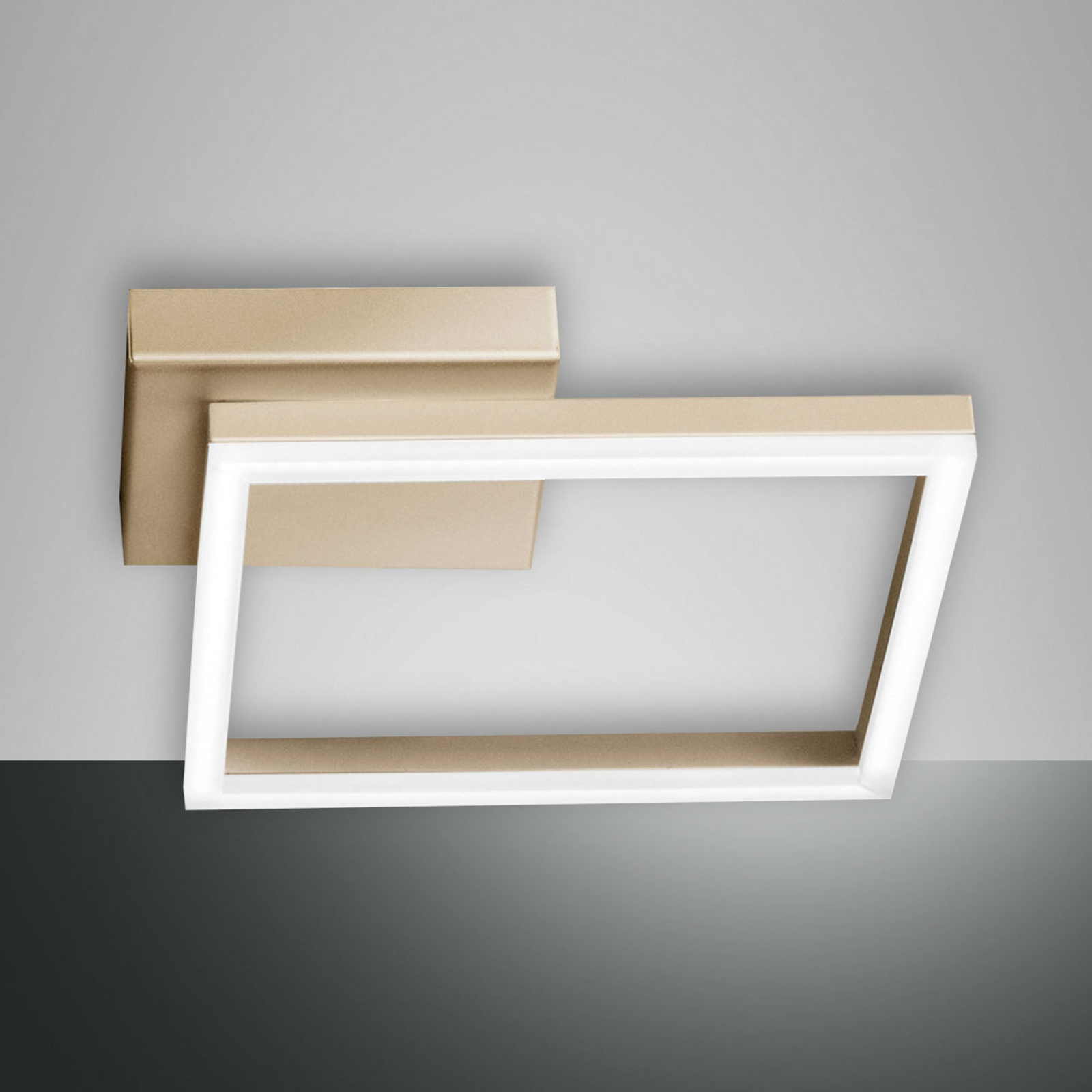 LED plafondlamp Bard, 45x45cm, matgoud finish